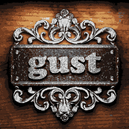 gust: vector iron word on wooden background