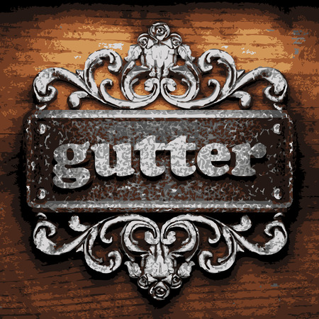 gutter: vector iron word on wooden background