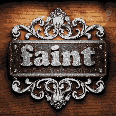 vector iron word on wooden background