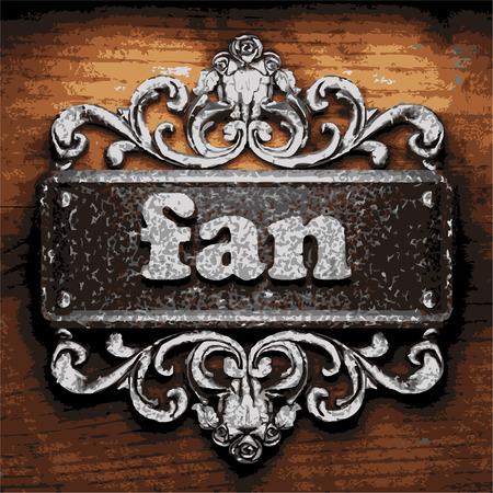 iron fan: vector iron word on wooden background
