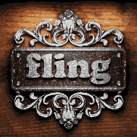 fling: vector iron word on wooden background