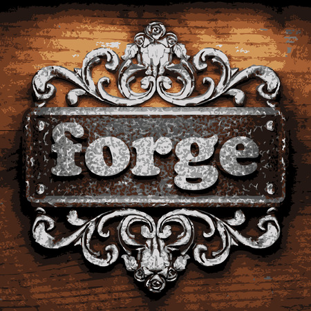 forge: vector iron word on wooden background