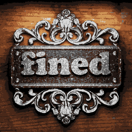 fined: vector iron word on wooden background