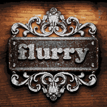 flurry: vector iron word on wooden background