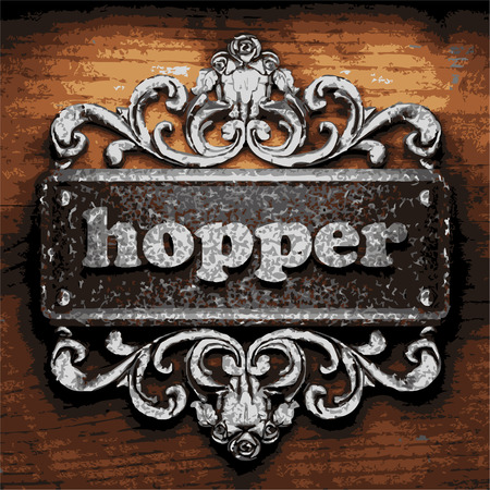 hopper: vector iron word on wooden background