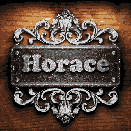 horace: vector iron word on wooden background