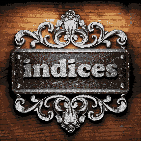 indices: iron word on wooden background