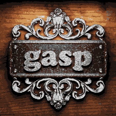 gasp: iron word on wooden background