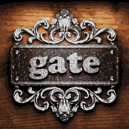baroque gate: iron word on wooden background