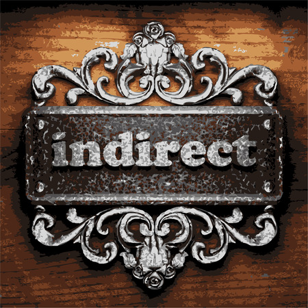 indirect: iron word on wooden background