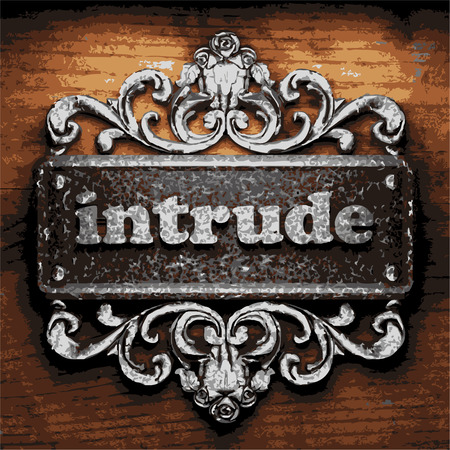 intrude: iron word on wooden background