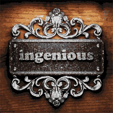 ingenious: iron word on wooden background