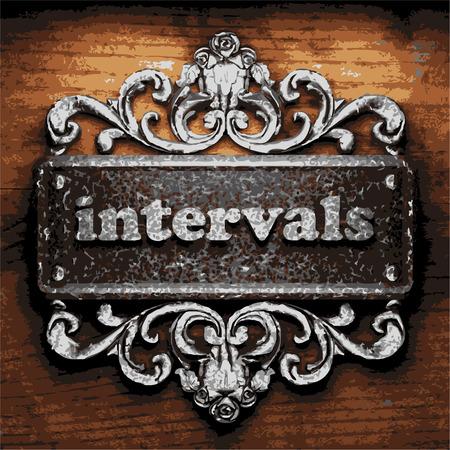 intervals: vector iron word on wooden background