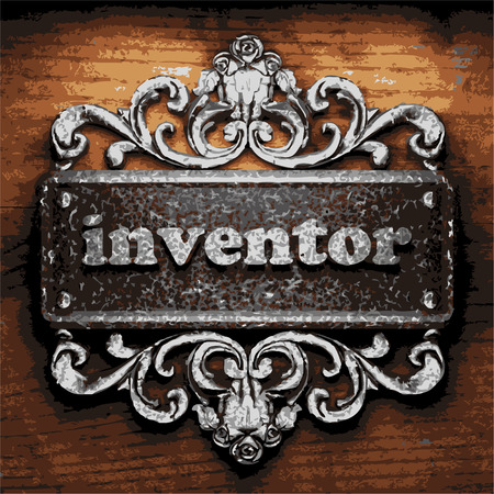 inventor: vector iron word on wooden background