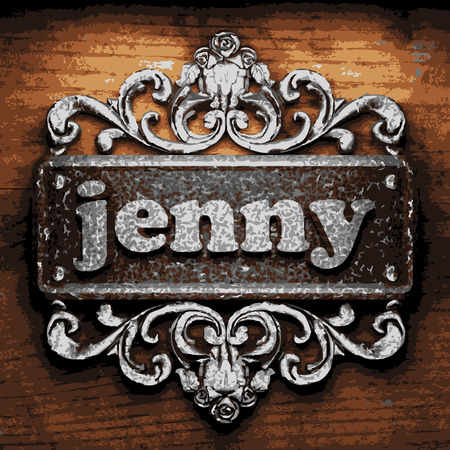 jenny: vector iron word on wooden background