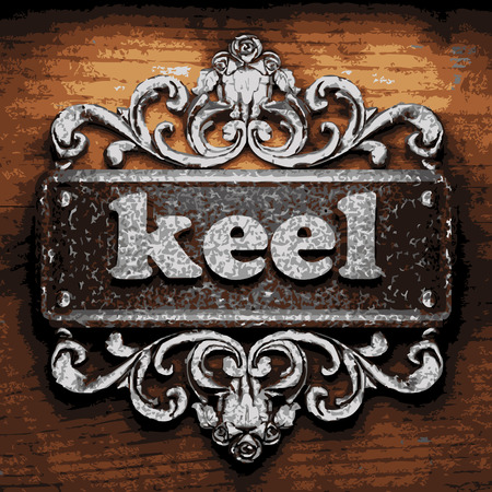 keel: vector iron word on wooden background