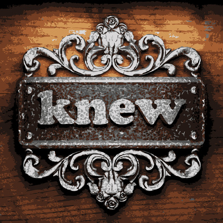 knew: vector iron word on wooden background