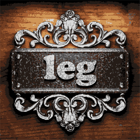 metal legs: vector iron word on wooden background
