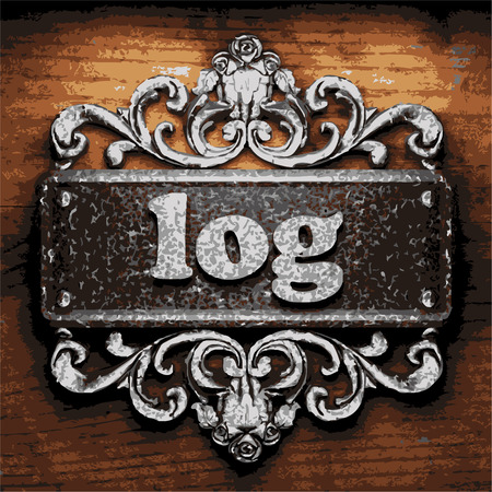 log wall: vector iron word on wooden background