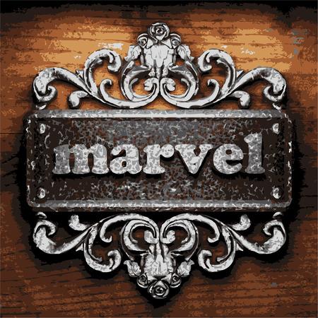 marvel: Vektor-Eisen Wort auf Holzuntergrund