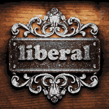 liberal: vector iron word on wooden background