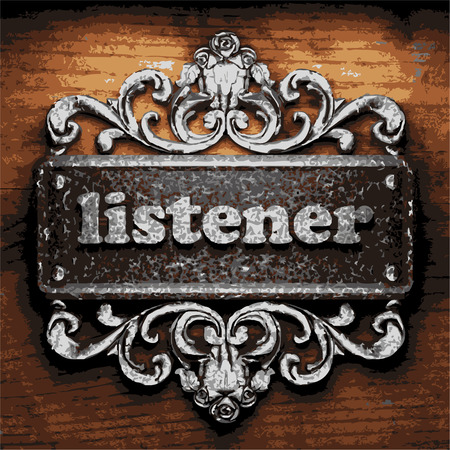 listener: vector iron word on wooden background