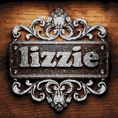 lizzie: vector iron word on wooden background