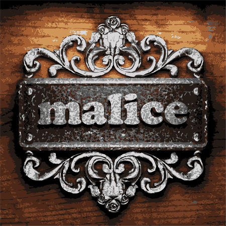 malice: vector iron word on wooden background