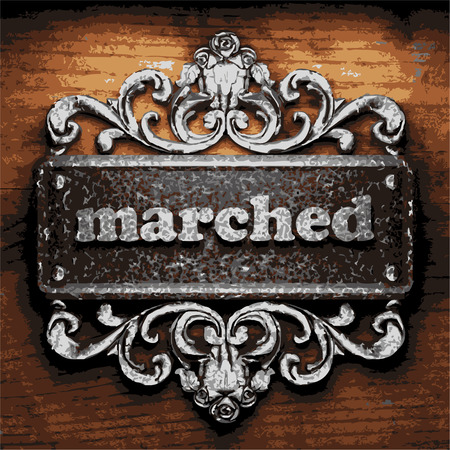 marched: vector iron word on wooden background