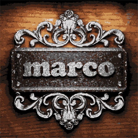 marco: vector iron word on wooden background