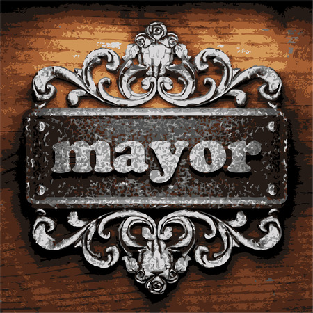 mayor: vector iron word on wooden background