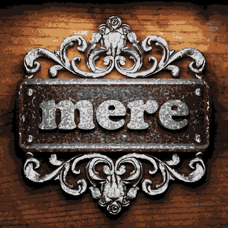 mere: vector iron word on wooden background