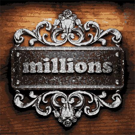 millones: de hierro la palabra vector sobre fondo de madera
