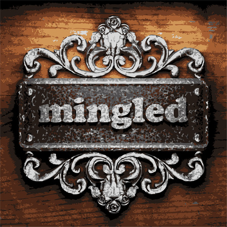 mingled: vector iron word on wooden background