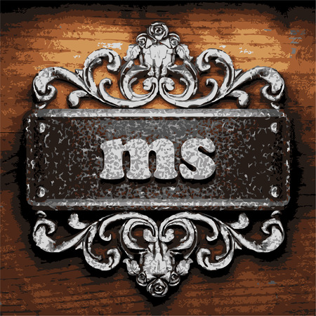 ms: vector iron word on wooden background