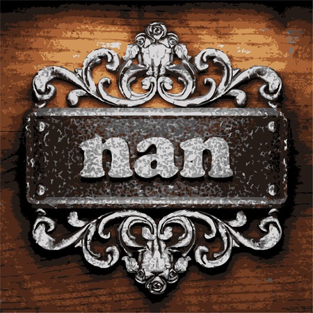 nan: vector iron word on wooden background