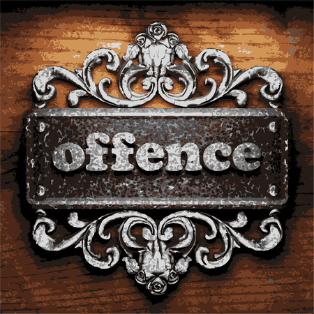 offence: vector iron word on wooden background