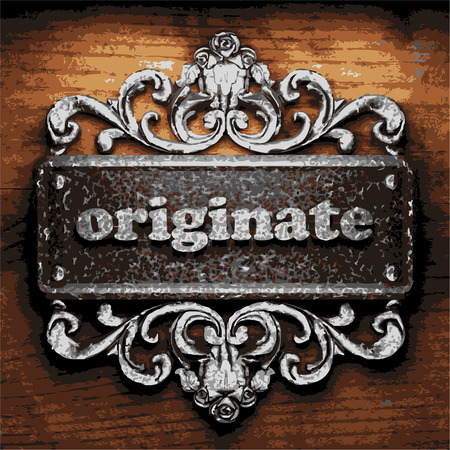 originate: vector iron word on wooden background