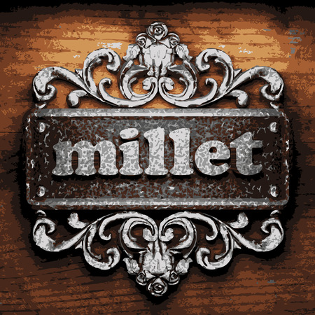 millet: vector iron word on wooden background