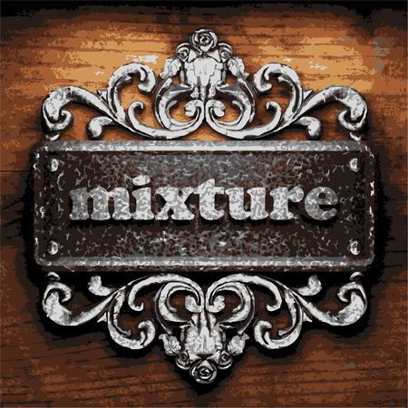 mixtures: vector iron word on wooden background