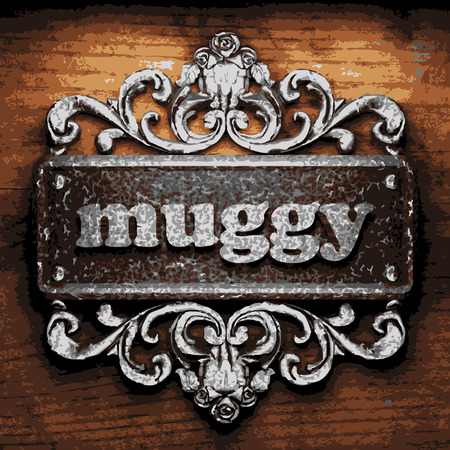 muggy: vector iron word on wooden background