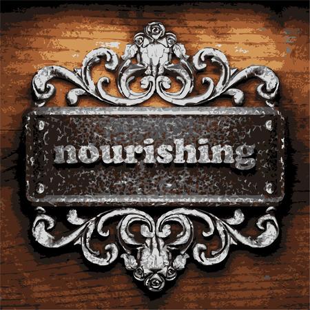 nourishing: vector iron word on wooden background