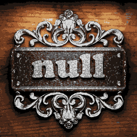 null: vector iron word on wooden background