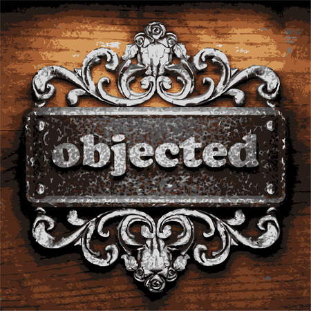 objected: vector iron word on wooden background