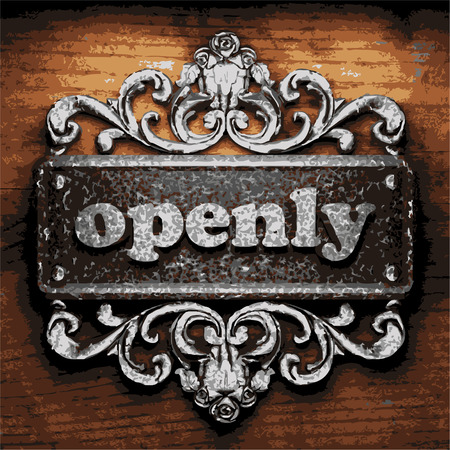 openly: vector iron word on wooden background