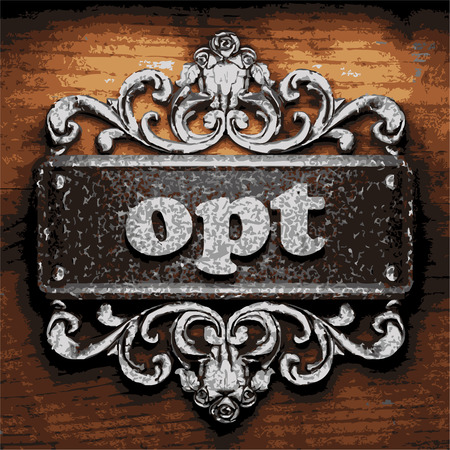 opt: vector iron word on wooden background