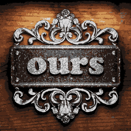 ours: vector iron word on wooden background