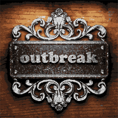 outbreak: vector iron word on wooden background