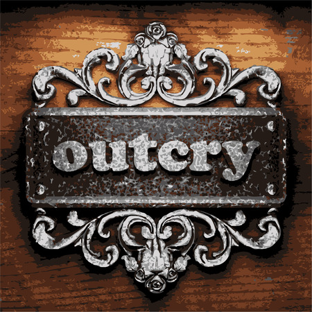 outcry: vector iron word on wooden background
