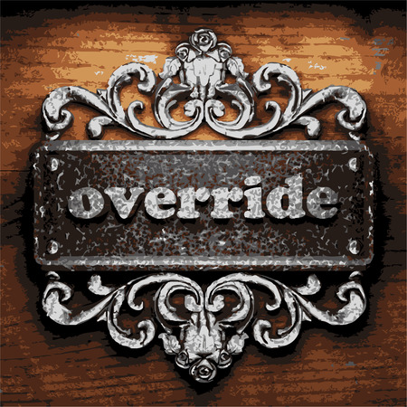 override: vector iron word on wooden background